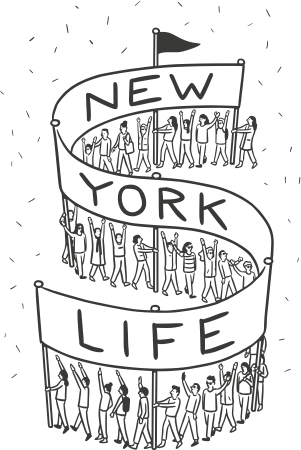 New York Life illustration banner greyscale transparent background
